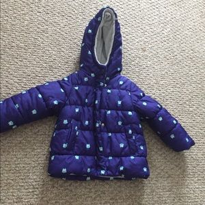 Carter's winter jacket blue with owls size 2T